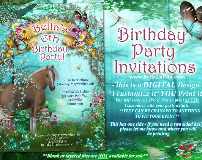 Birthday Pony Party, Horse Riding Party Invitation, Horse Butterflies Flowers, Girls Birthday Invitation, Brown Horse