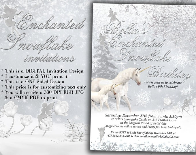 Snowflake Unicorn Party Invitation, Snowflake Fairy Unicorn Party, Winter Unicorn Party Invite
