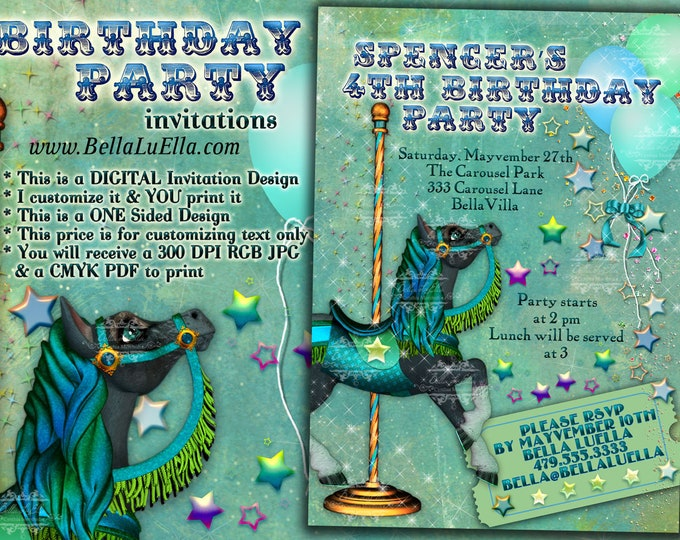 Carousel Horse Birthday Invitations, Birthday Party Invitations, Carousel Party