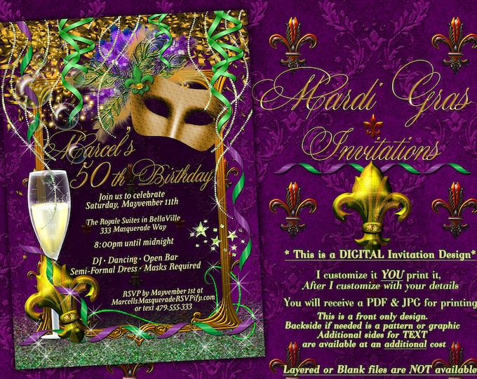 Mens Masquerade Party Invitation, Royale Red Mardi Gras Party, Masquerade Prom, Mardi Gras King