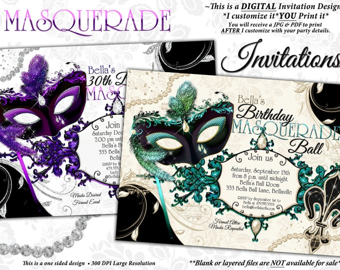 Masquerade Party Invitation, Mardi Gras Party, Venetian Mask Party Invitations, Quinceanera Masquerade Party, Mis Quince Anos, Mask Birthday