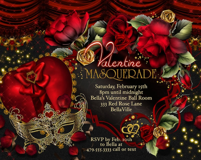Masquerade Valentine Party Invitations, Valentines Day Party, Party Invitations