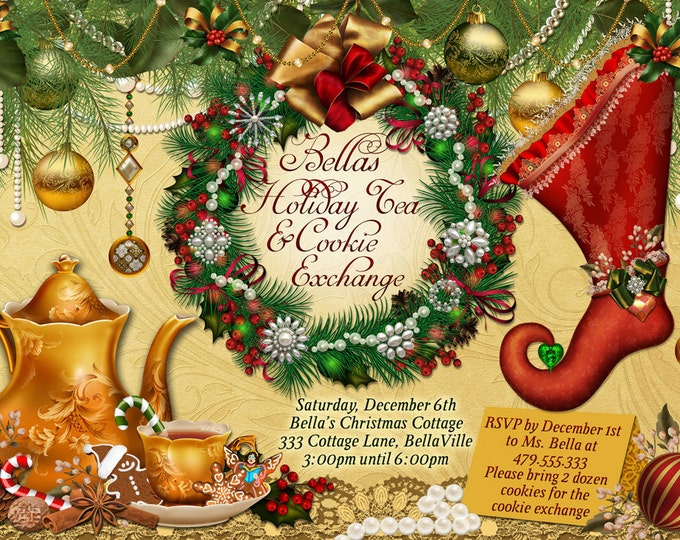 Christmas Tea Party Invitation, Cookie Exchange, Holiday Tea Party,  Party Invitations, Tea Party, Christmas Tea