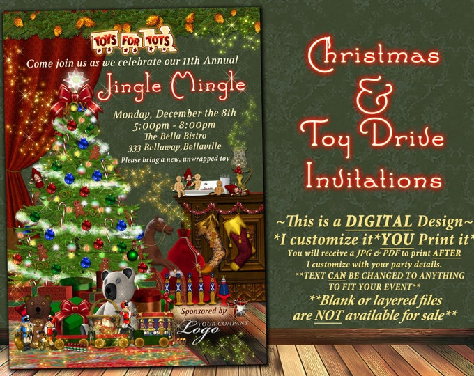 Toy Drive Invitations, Holiday Party Invitations, Jingle Mingle Party