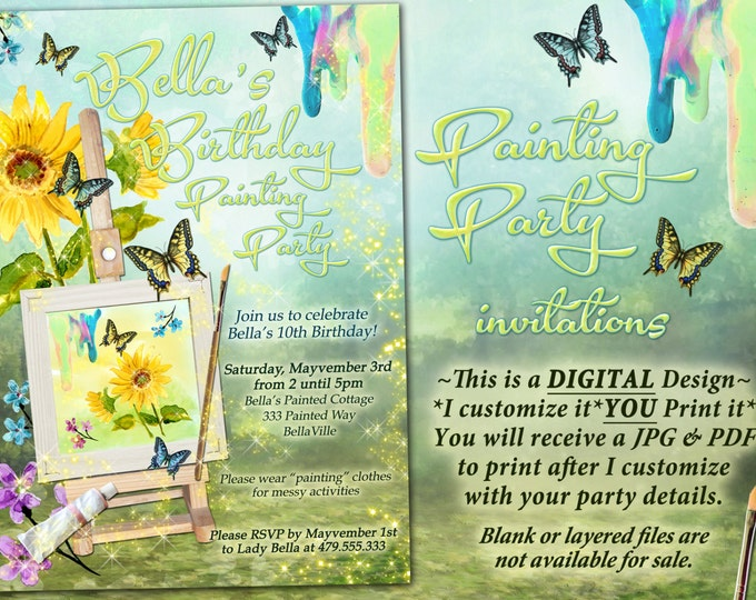 Painting Party Invitation, Girls Painting Party