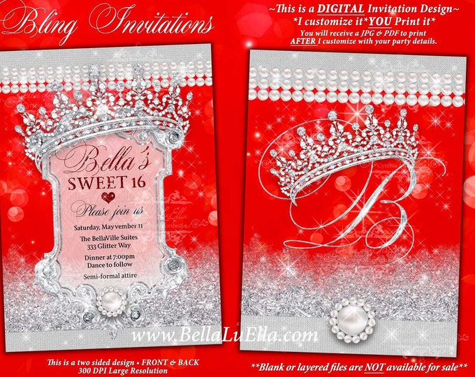 Red Diamond Pearl Invitation, Sweet 16 Invitation, Quinceanera, Bling Party, Glitter Sparkle Mis Quince Anos, Jewel Invitations, Bling