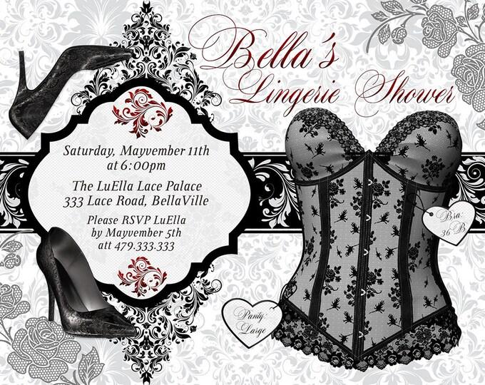 Black Red White Lingerie Shower Invitation, Bachelorette Party, Bridal Shower, Party Invitations, Corset Invitations, Burlesque Invitations