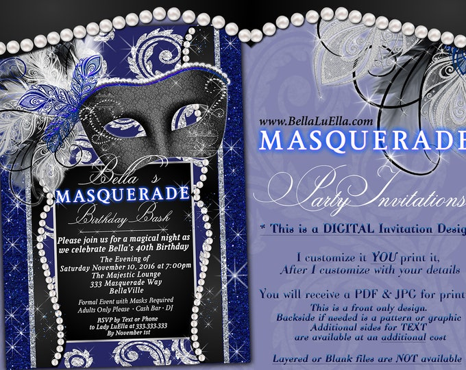 Masquerade Party Invitation, Mardi Gras Party, Party Invitations, Masquerade Invitations, Mis Quince Anos, Royal Masquerade Dinner Party