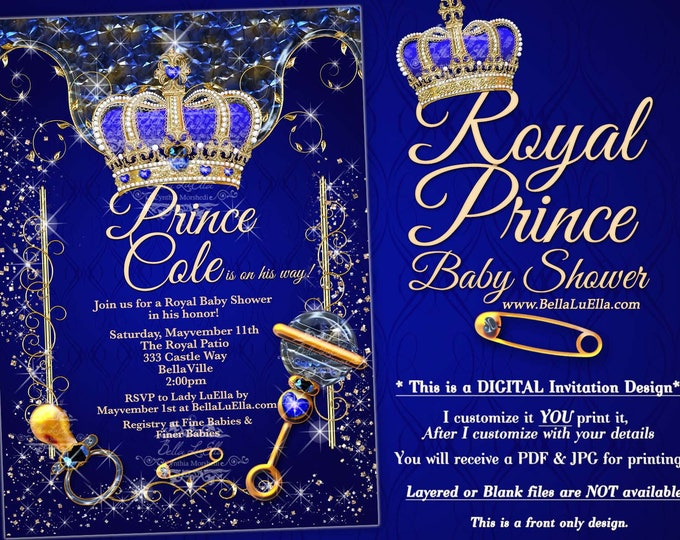 Royal Prince Baby Shower Invitation, Boy Baby Shower, Royal Blue Crown Prince Baby Announcement, Boy Bling Baby Shower