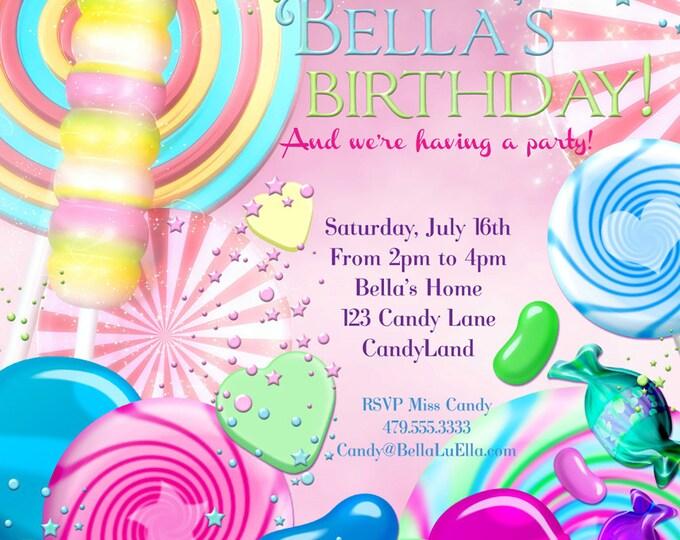 Candy Land Birthday Party Invitation, Birthday Party Invitations, Candy Party, Pink Candy Party Invitations