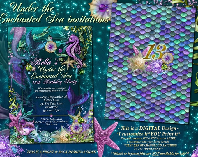 Mermaid, Mermaid Pool Party Invitations, Mermaid Birthday Party, Under the Sea Invitations, Enchanted Seas, Quinceanera, Pool Party