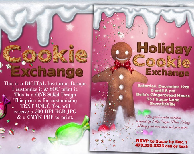 Cookie Exchange Invitation, Christmas Party, Holiday Party, Cookie Party, Gingerbread Invitation