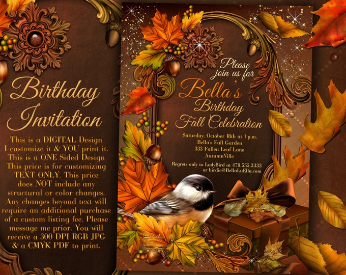 Autumn Birthday Invitation, Fall Party Invitation, Fall Festival Autumn Garden Party