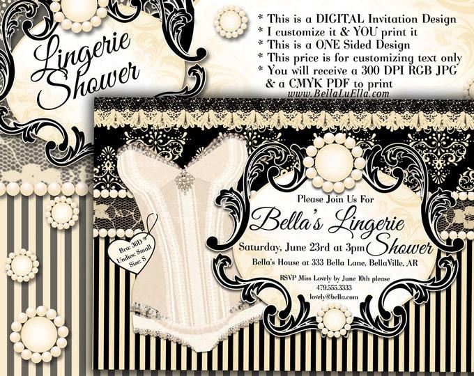 Lingerie Shower Invitation, Bachelorette Party, Bridal Shower, Party Invitations, Corset Invitations, Burlesque Invitations, Black Cream