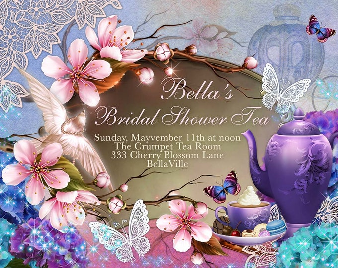 Cherryblossom Tea Party, Tea Party, Garden Tea Party, Party Invitations, Bridal Shower Tea