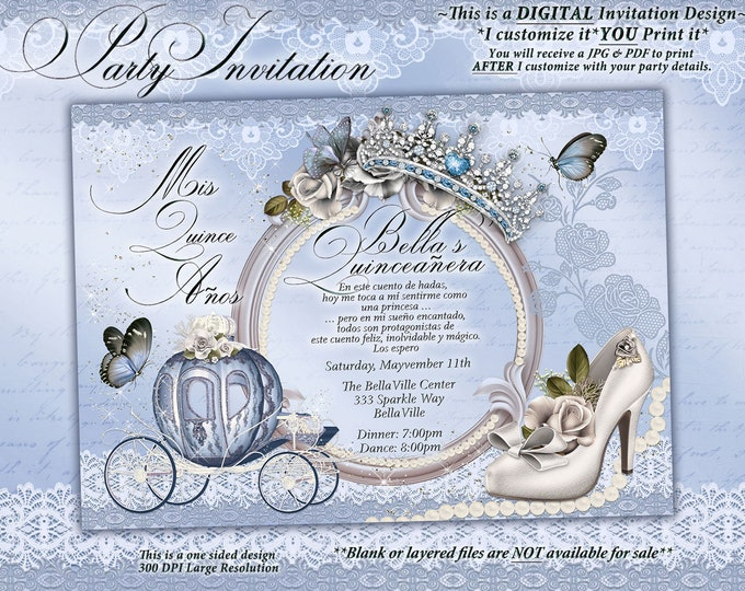 Quinceanera Invitation, CinderBella Sweet 16, Sweet 16 Party Invitations, Princess Invitations, Mis Quince Anos, Sky Blue Carriage