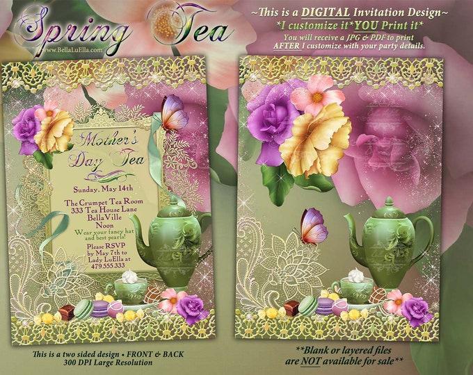 Spring Tea Party Invitation, Mothers Day Tea, Garden Tea Party, Bridal Tea Shower, Tea Roses Butterflies Garden
