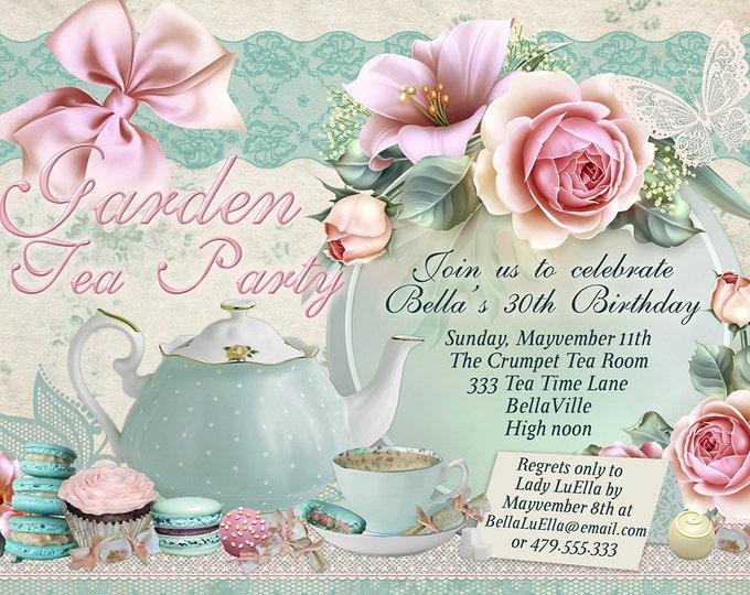 Tea Parties, Bridal Tea Party Invitation, Tea Party Invitations, Garden Tea Party, Garden Tea Party