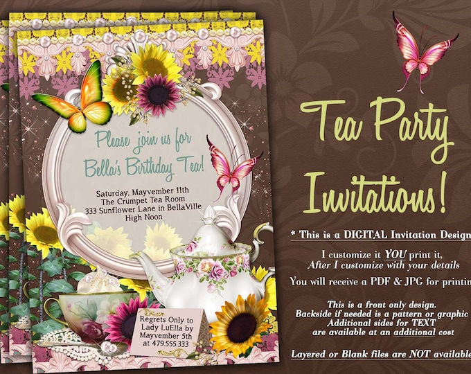 Tea Party Invitation, Garden Tea Party, Sunflower Party Invitations, Birthday Tea Party, Tea Parties