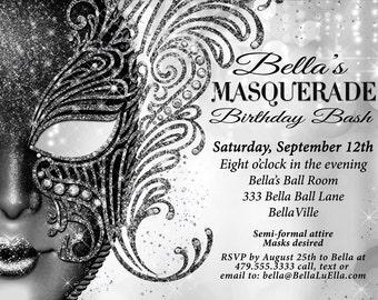 Masquerade Party Invitation Mardi Gras Invitations