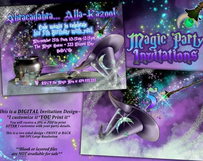 Wizard Magic Show Invitation, Wizard Party, Wizard Birthday Magic Party, Wizard Birthday Party