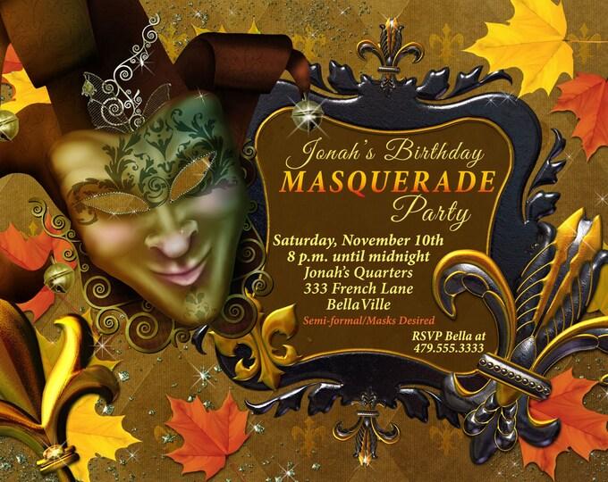 Fall Mardi Gras Party, Autumn Masquerade Party, Mask Party Invitations, Masquerade Invitation