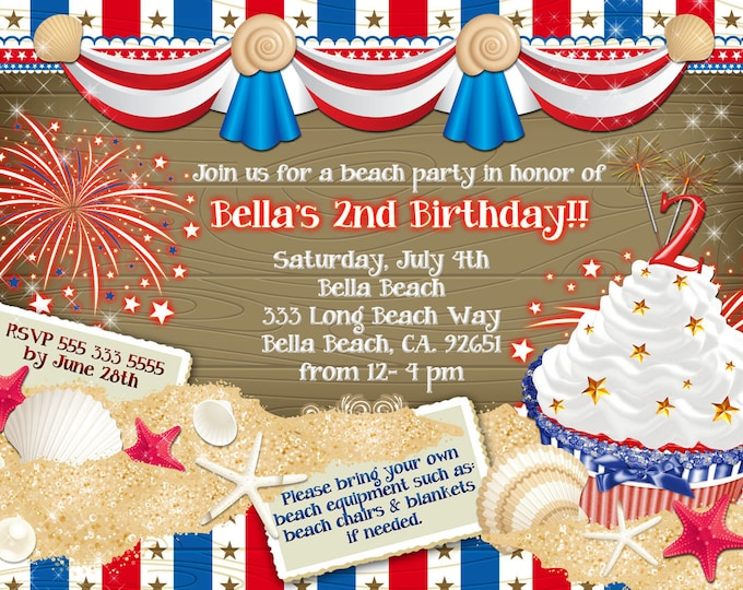 Patriotic Beach Party, Summer Beach Party, July 4th Beach Party