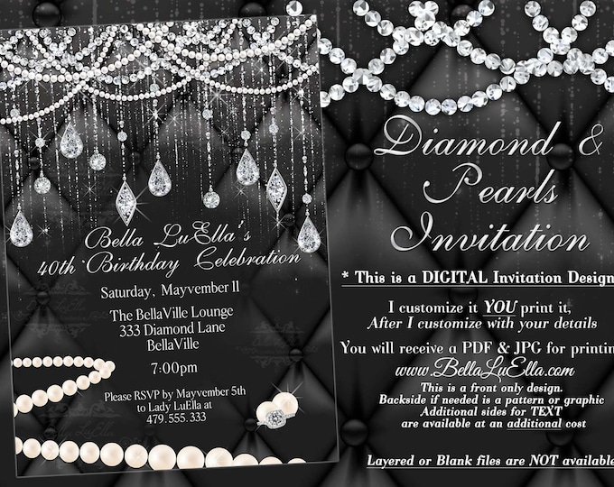 Diamond and Pearl Invitation, Sweet 16 Invitation, Quinceanera, Bling Party Invitations, Bling Diamonds Pearls Black White