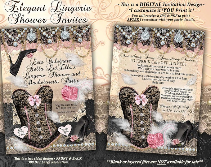 Classy Lingerie Shower Invitation, Elegant Bachelorette Party, Bridal Shower, Bling Feather Burlesque Invitations