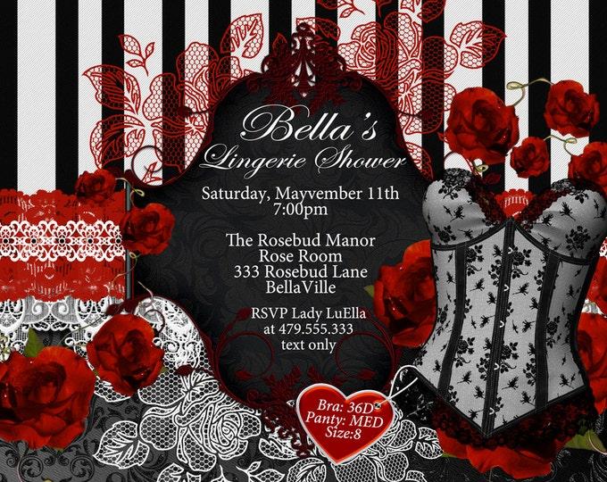 Black White Red Lingerie Shower Invitation, Bachelorette Party, Bridal Shower, Party Invitations, Corset Invitations, Burlesque Invitations