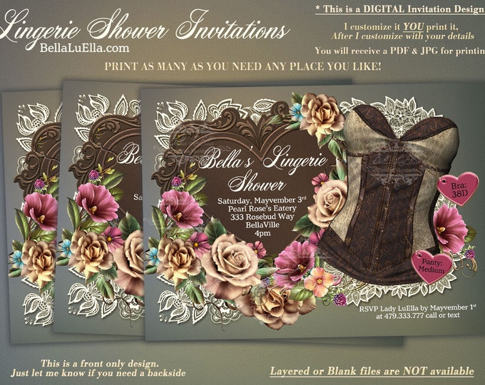 Classy Lingerie Shower Invitation, Elegant Bachelorette Party, Bridal Shower, Brown Corset with Lace and Roses, Rustic Lingerie Shower