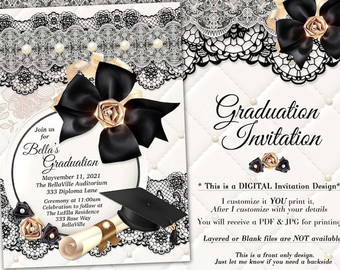 Elegant Graduation Invitations, Grad Invites, Graduation Ceremony, Black White Gold Pearl Graduation Invitation, Diploma Hat Invite