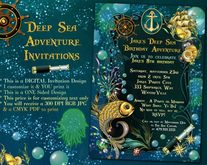 Pirate Party Invitations, Underwater Sea Adventure, Under the Sea Invitations, Sea Life Invitations