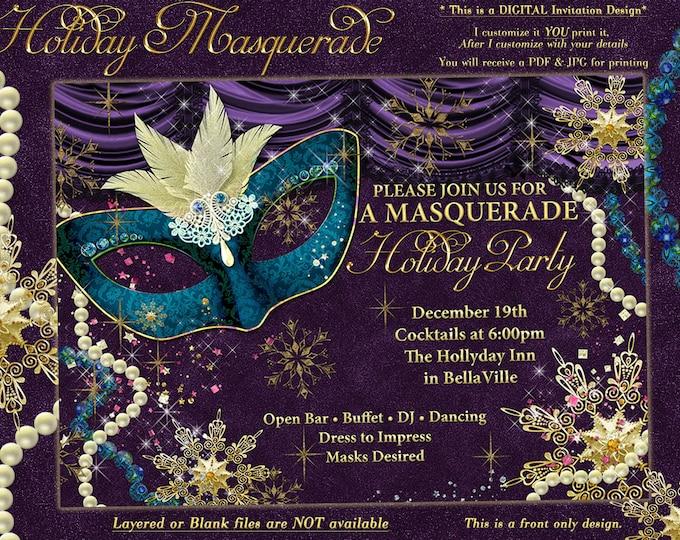 Masquerade Party, Masquerade Invitation, Snowflake Masquerade Party,Gold Snowflake Masquerade, Holiday Party Invitation