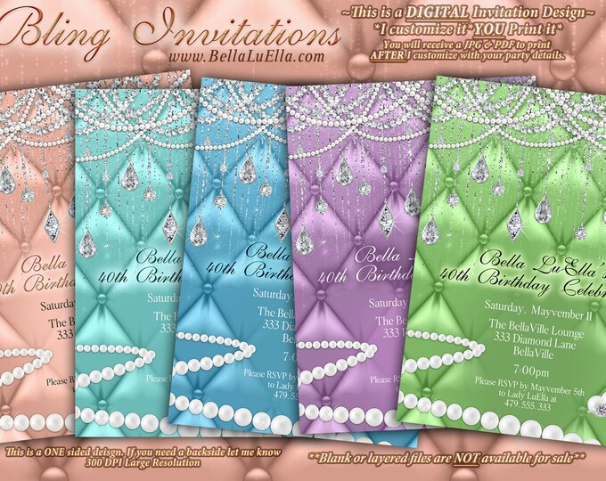 Diamond and Pearl Invitation, Sweet 16 Invitation, Quinceanera, Bling Party Invitations, Mis Quince Anos, Diamond Pearl Bling, Pearls
