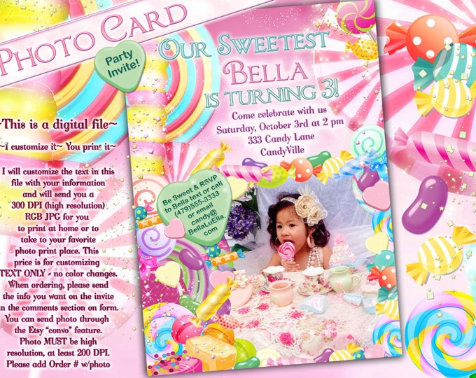 Candy Invitation, Photo Card, Candy Land Photo Invitation, Birthday Party Invitations, CandyLand Invitations