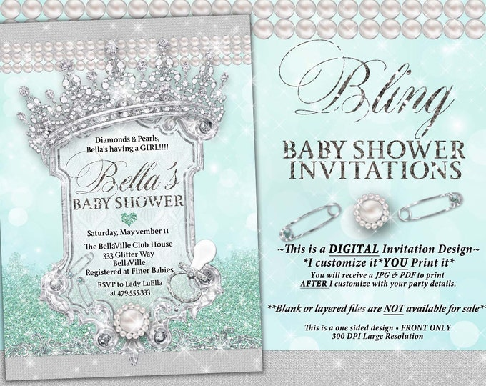 Royal Princess Baby Shower Invitation, Baby Shower Bling, Green Glitter Princess Baby, Baby Showers, Green Diamond Glitter Baby Shower