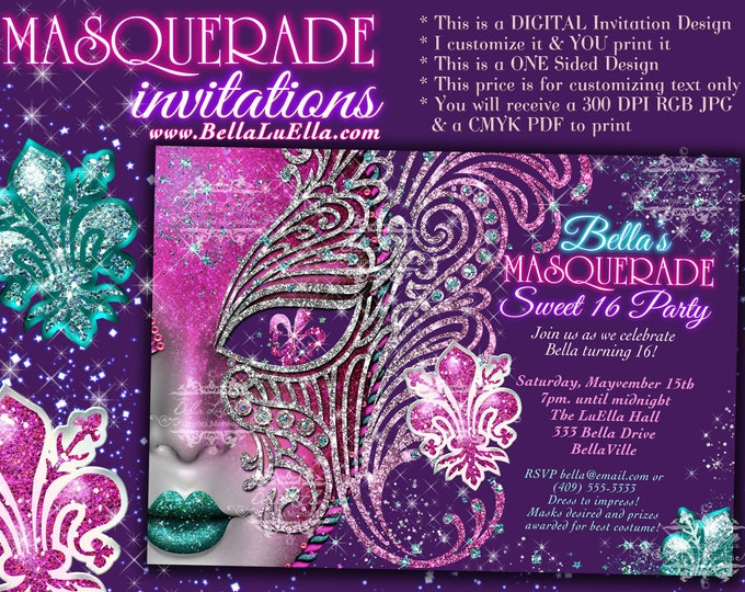 Masquerade Party Invitation, Mis Quince Anos, Masquerade Sweet 16, Pink Mask, Pink Purple Turquoise, Fleur Di Lis, Mask