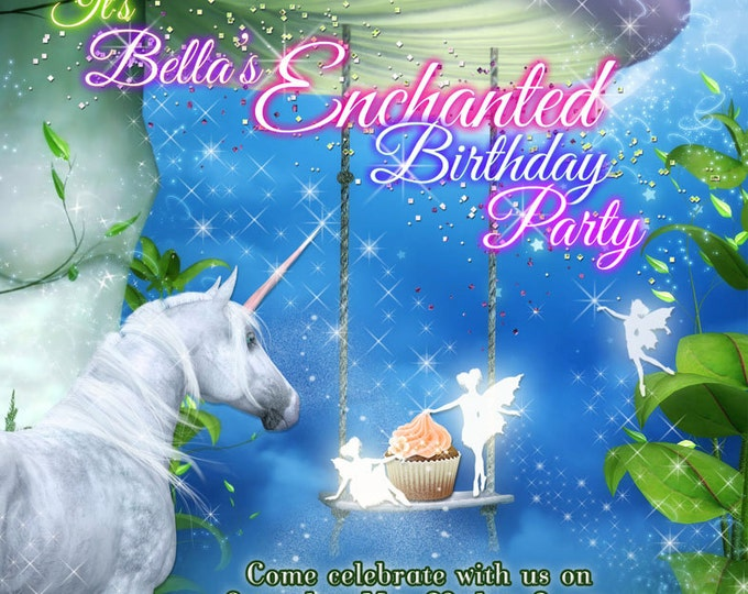 Unicorn Party, Unicorn Party Invitation With Fairies, Fairy Unicorn Invitations, Birthday Party Invitations