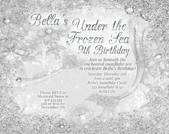 Winter Mermaid Invitations, Mermaid Party, Snowflake Mermaid, Mermaid Birthday Party Invitations