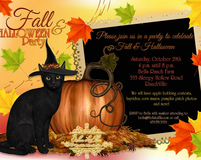 Fall and Halloween Party Invitations, Halloween Party, Fall Party Invitation