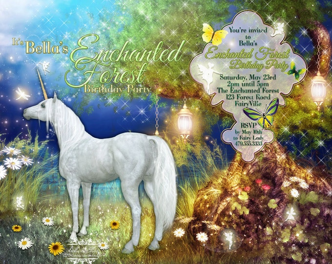 Unicorn Party Invitation With Fairies, Fairy Party, Unicorn Invitation