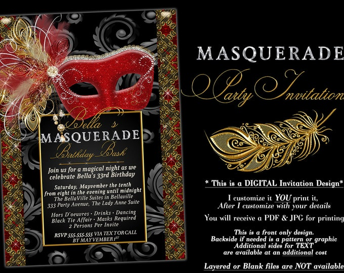 Masquerade Party Invitation, Mardi Gras Party, Mis Quince Party Invitations, Masquerade Invitations, Quinceanera, Birthday Ball, Sweet 16