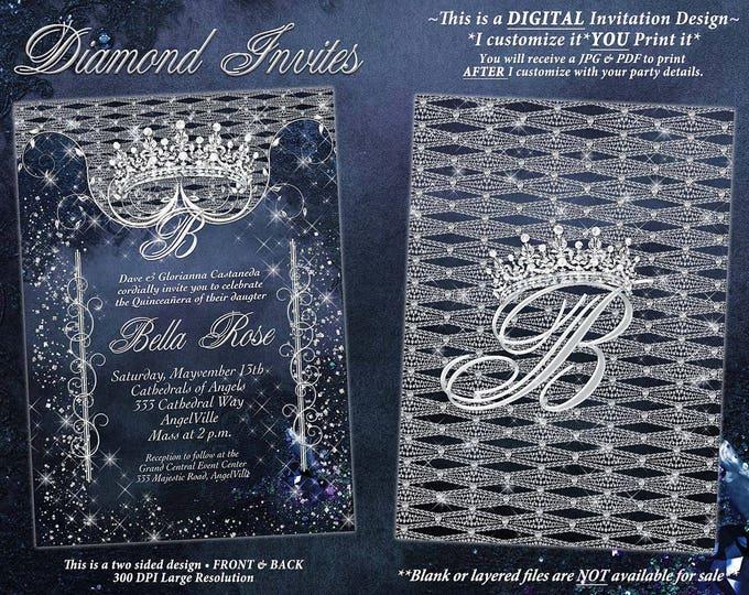 Bling Diamond Party Invitations, Diamond Quince, Diamond Sweet 16 Party