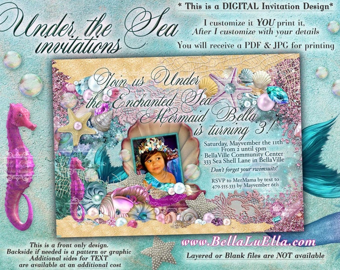 Mermaid Party Photo Invitation, Mermaid Party, Mermaid Invitations, Photo Birthday Invitation, Under the Sea, Mermaid Seahorse Bling Jewels