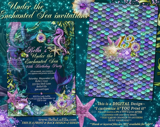Mermaid, Mermaid Pool Party Invitations, Mermaid Birthday Party, Under the Sea Invitations, Enchanted Seas, Quinceanera, Pool Party