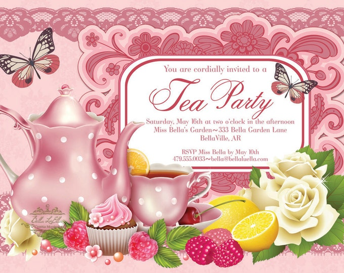 Tea Party Invitation, Bridal Tea Party, Garden Tea Party, Party Invitations, Birthday Tea Party