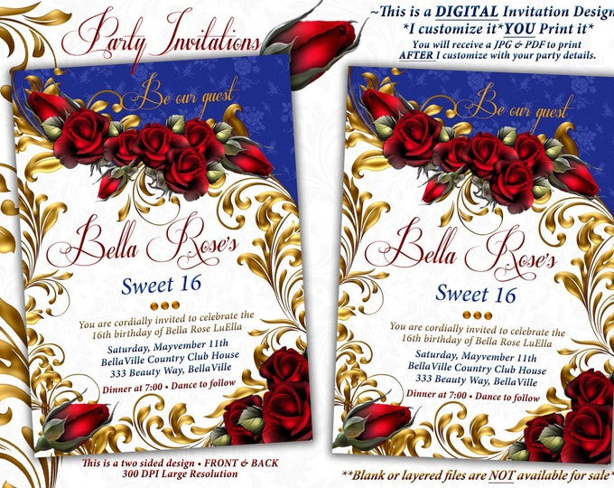 Birthday Party Invitations, Quinceanera Invitation, Party Invitations, Sweet 16 Party, Red Gold Blue, Red Roses, Mis Quince