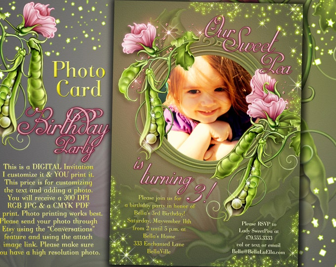Birthday Photo Card Invitation, Photo Card, Birthday Party, Girl Sweet Pea Card