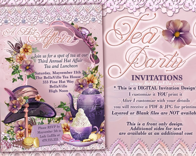Tea Party Invitations, Hat Tea Parties, Hat Party Invitations, Birthday Tea Party, Purple Hat Party, Fancy Tea Party, Hat Party